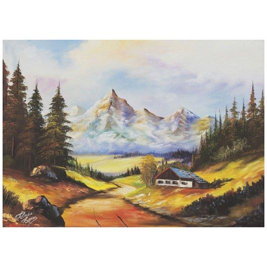 Gravura para quadros Casa em Paisagem de Floresta 70x50cm