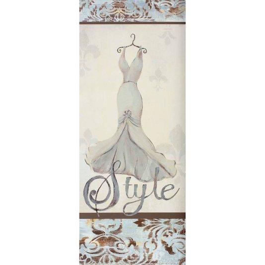 Gravura para Quadros Closet Vestido Branco Style 20x50cm