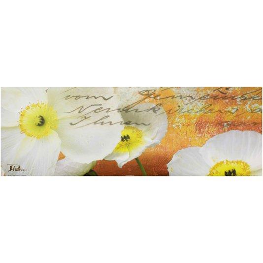 Gravura para Quadros Composição Flor Papulas Brancas 90x30cm