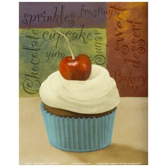 Gravura para Quadros Cupcake com Cereja 20x25cm