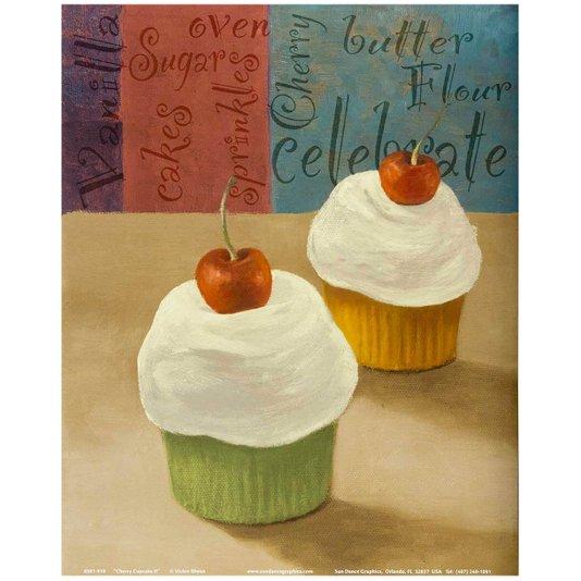 Gravura para Quadros Cupcakes com Cereja 20x25cm