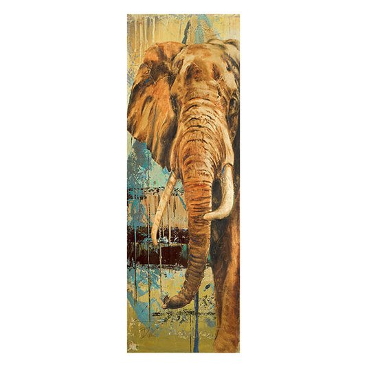 Gravura para Quadros Elefante em Fundo Abstrato Colorido 30x90cm