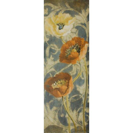 Gravura para Quadros Flor Papoulas Vermelhas e Branca 30x90cm
