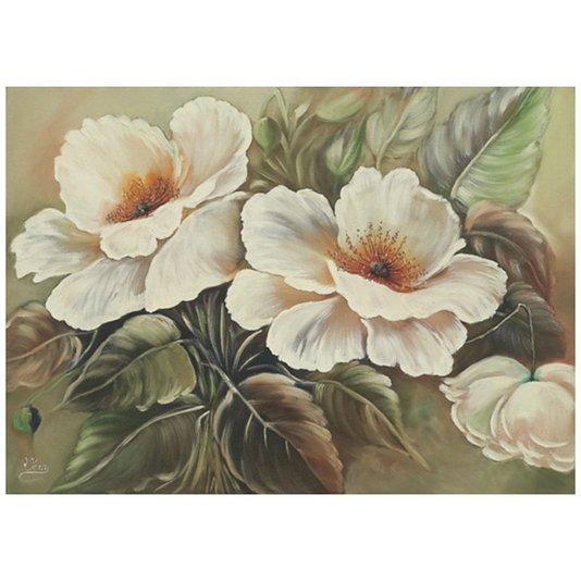 Gravura para Quadros Floral Flores Brancas com Folhas Verdes 70x50cm