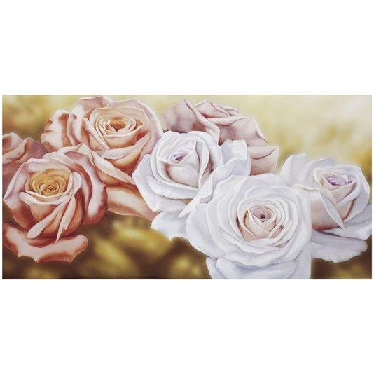 Gravura para Quadros Floral Rosas Fundo Amarelo 100x50cm