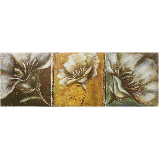 Gravura para Quadros Floral Três Papoulas Brancas 90x30cm