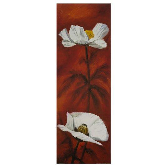 Gravura para Quadros Flores Brancas em Fundo Vermelho 30x90cm