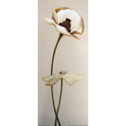 Gravura para Quadros Flores Destacadas em Fundo Bege 20x50 cm