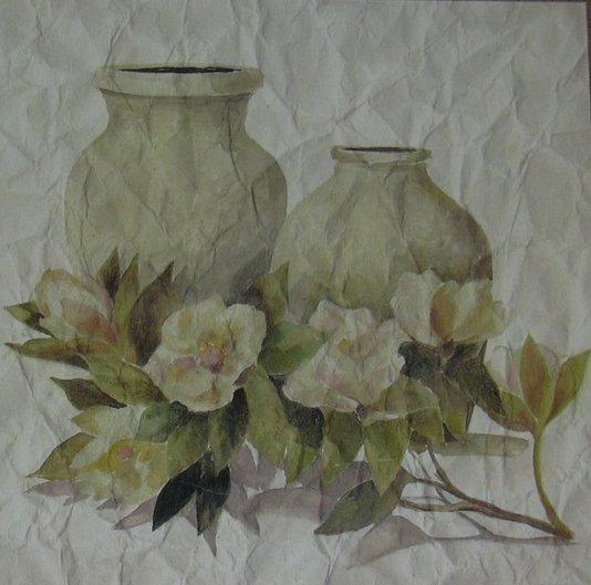 Gravura para Quadros Flores e Vasos 20x20cm