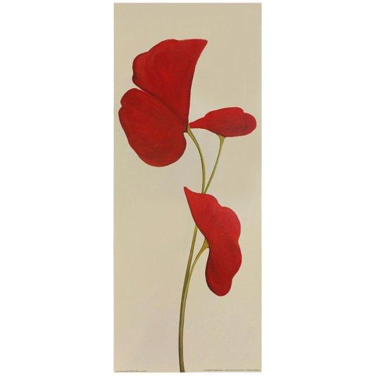 Gravura para Quadros Flores Vermelhas Destacadas com Fundo Bege 20x50cm