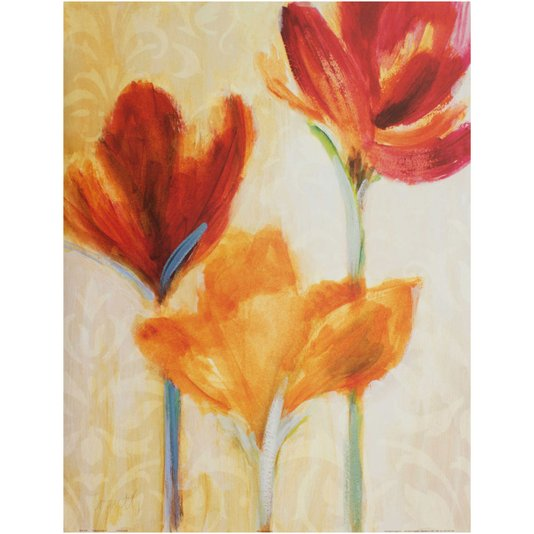 Gravura para Quadros Flores Vermelhas e Laranja 56x71cm