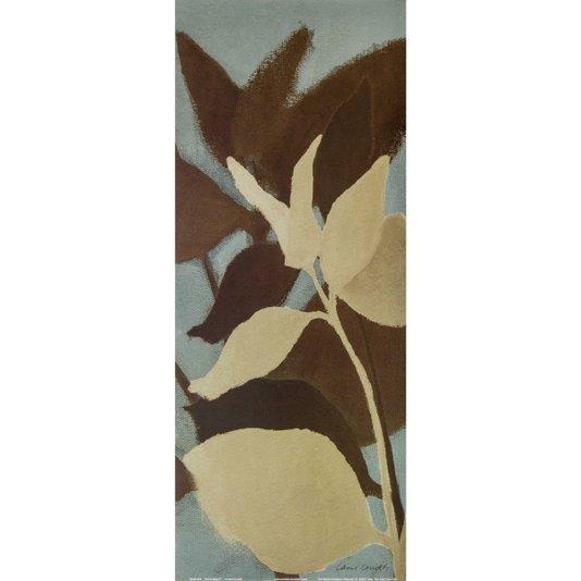 Gravura para Quadros Folhas no Azul Arte de Lanie Loreth II - 20x50cm