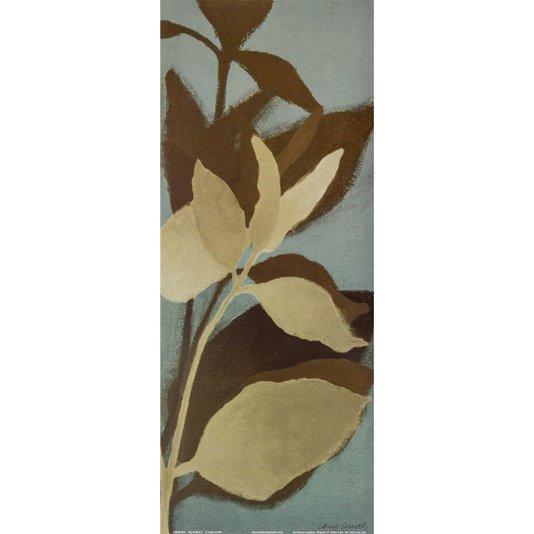 Gravura para Quadros Folhas no Azul por Lanie Loreth 20x50cm