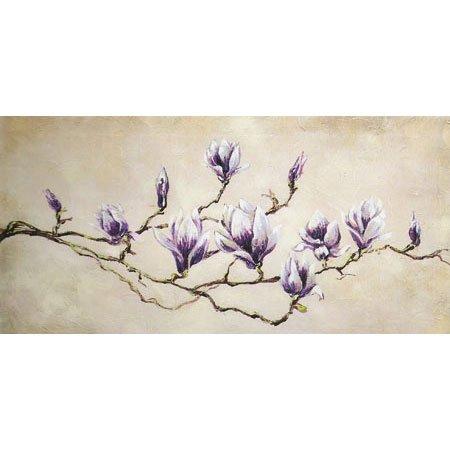 Gravura para Quadros Galho de Magnolia com Flores 100x50cm