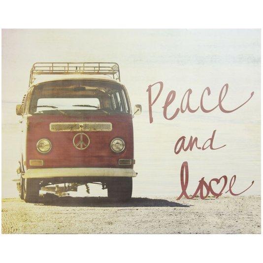 Gravura para Quadros Kombi com Frase Peace And Love 71x56cm