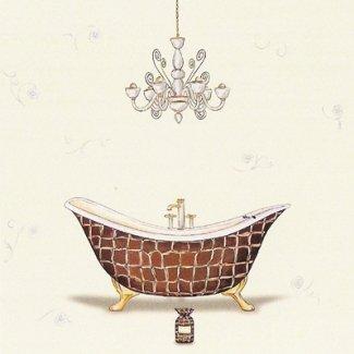 Gravura para Quadros Lavabo Banheira Marrom e Dourado 30x30cm