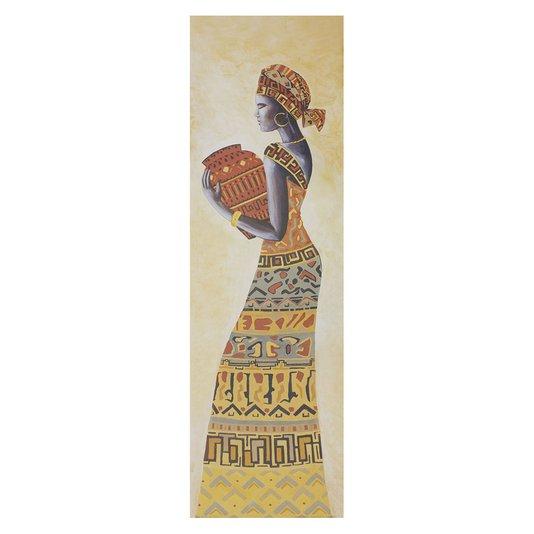 Gravura para Quadros Mulher Africana Carregado Vaso 30x100cm