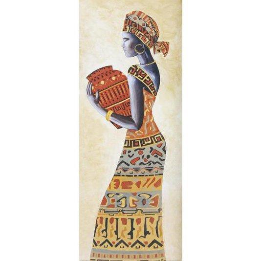 Gravura para Quadros Mulher Africana Carregando Vaso 20x50cm