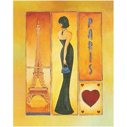 Gravura para Quadros Mulher com Vestido Preto Paris 40x50cm