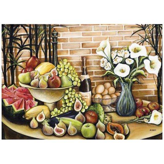 Gravura para Quadros Natureza Morta Frutas e Flores 70x50cm