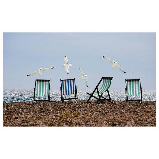 Gravura para Quadros Paisagem Cadeiras e Gaivotas 130x80cm