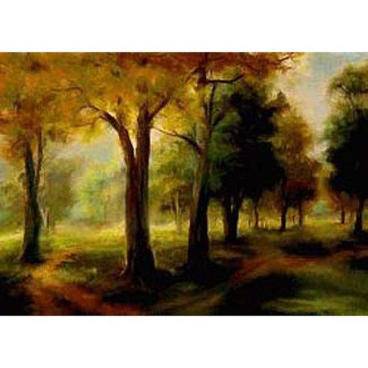 Gravura para Quadros Paisagem Floresta Verde 70x50cm