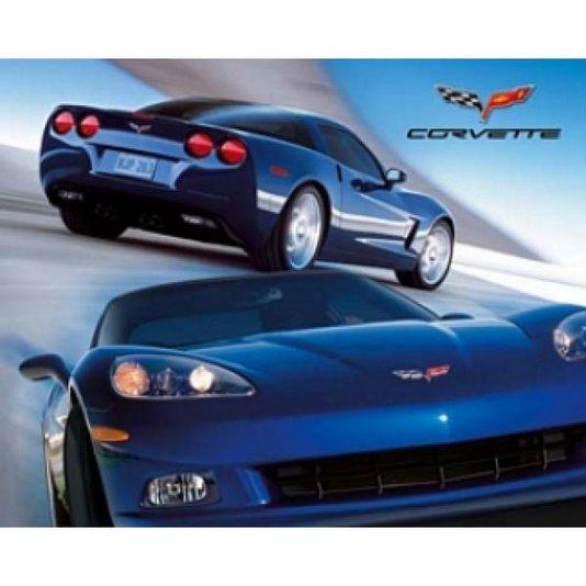 Gravura para Quadros Poster Carro Esportivo Corvette Azul 50x40cm