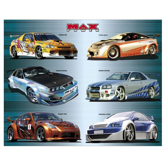 Gravura para Quadros Poster Carros Tunados Max Power 50x40cm