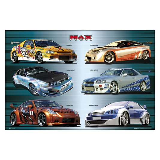 Gravura para Quadros Poster Carros Tunados Max Power 90x60cm