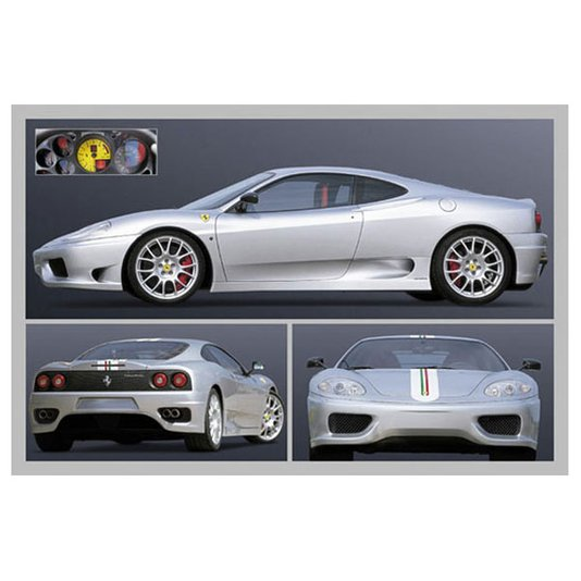 Gravura para Quadros Poster Ferrari Prata 90x60cm