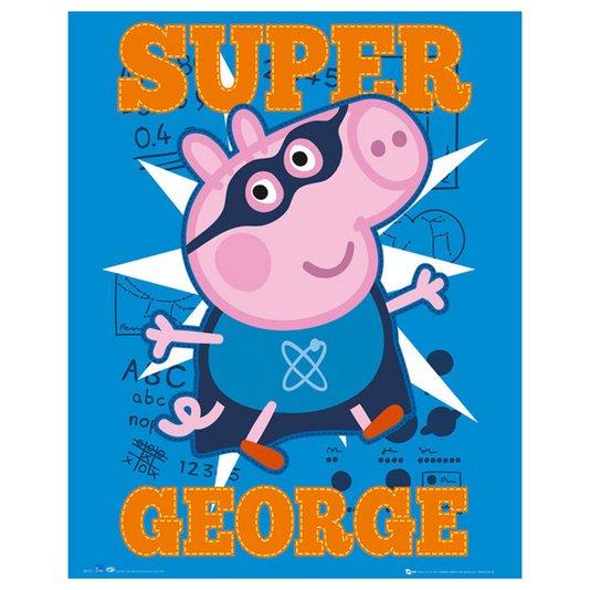 Gravura para Quadros Super George Personagem do Desenho Peppa Pig 40x50cm