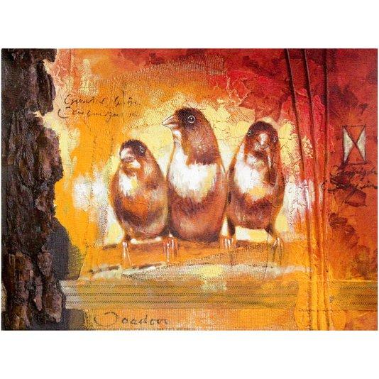 Gravura para Quadros Três Pássaros 40x30cm