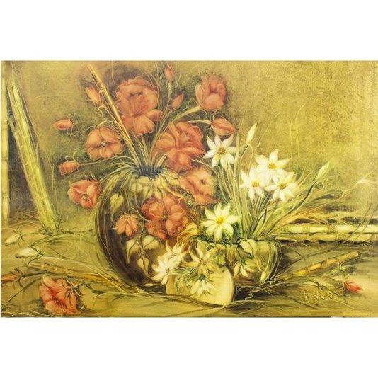 Gravura para Quadros Vasos com Flores Pintura Acrílica 90x60 cm