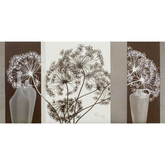Gravura para Quadros Vasos e Flores Delicadas 100x50cm