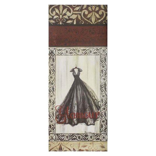 Gravura para Quadros Vestido Longo Preto Glamour 20x50cm