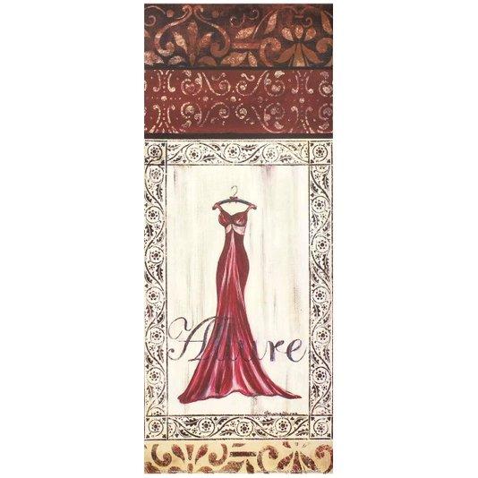 Gravura para Quadros Vestido Vermelho Fascinação 20x50cm