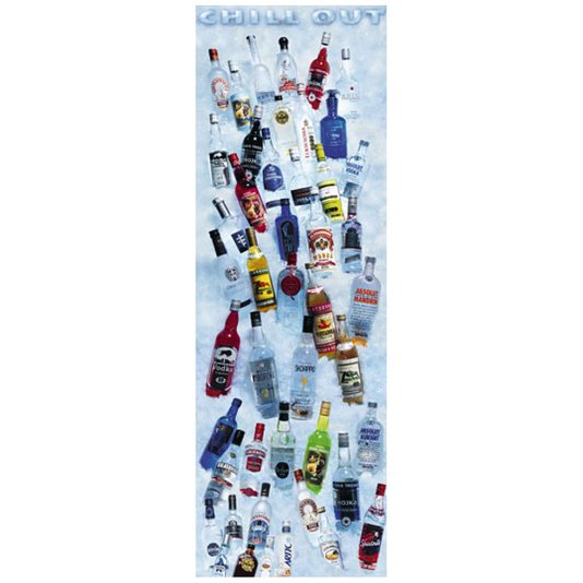 Gravura Poster para Quadros Bar Bebidas Chill Out 53x158cm