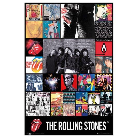 Gravura Poster para Quadros Discografia Banda The Rolling Stones 60x90cm