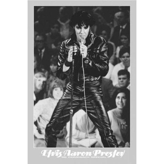 Gravura Poster para Quadros Elvis Presley em Preto e Branco 60x90cm