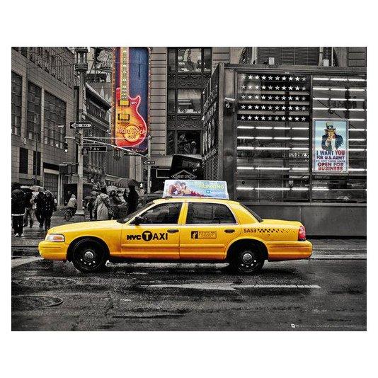 Gravura Poster para Quadros em Preto e Branco com Taxi em Destaque 50x40cm