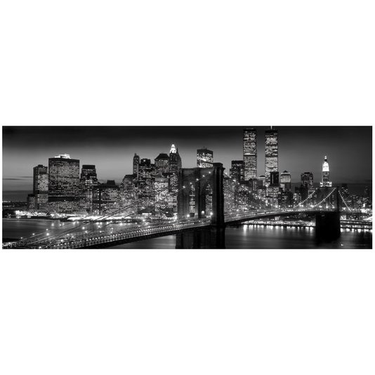 Gravura Poster para Quadros em Preto e Branco Ponte Brooklyn 90x30cm