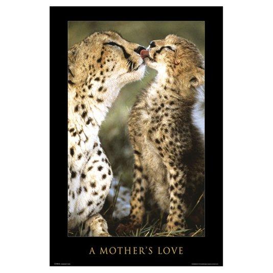 Gravura Poster para Quadros Guepardo Amor de Mãe 60x90cm