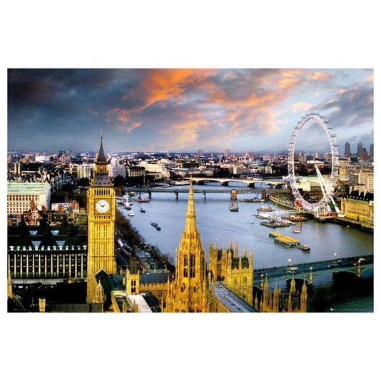 Gravura Poster para Quadros Londres London Eye Torre do Big Ben 90x60cm