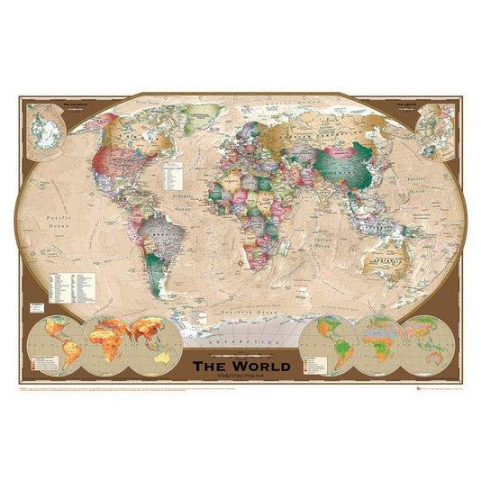 Gravura Poster para Quadros Mapa Mundo Atlas Geográfico Envelhecido 90x60cm
