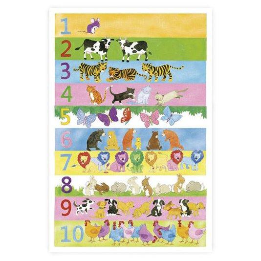 Gravura Poster para Quadros Numerais de Animais Coloridos 60x90cm