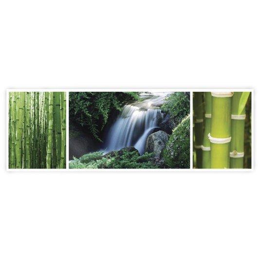 Gravura Poster para Quadros Paisagem Floresta Cachoeira 90x30cm