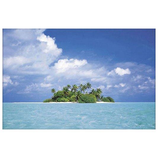 Gravura Poster para Quadros Paisagem Mar Azul com Ilha 90x60cm