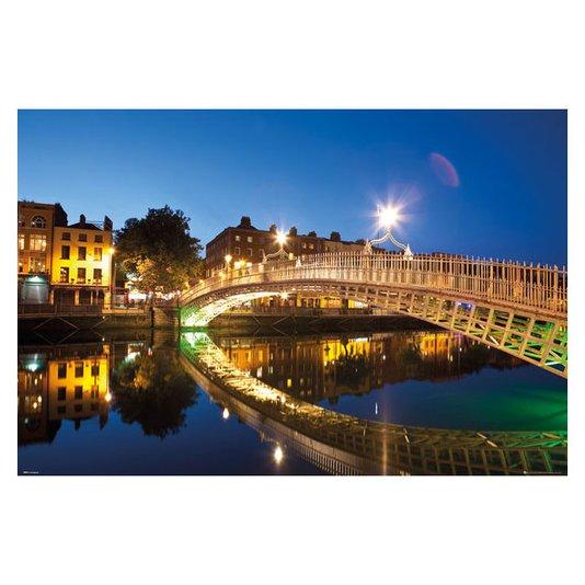 Gravura Poster para Quadros Paisagem Ponte a Noite com Reflexo na Água 90x60cm