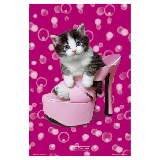 Gravura Poster para Quadros Pet Filhote de Gato Dentro de Sapato 60x90cm