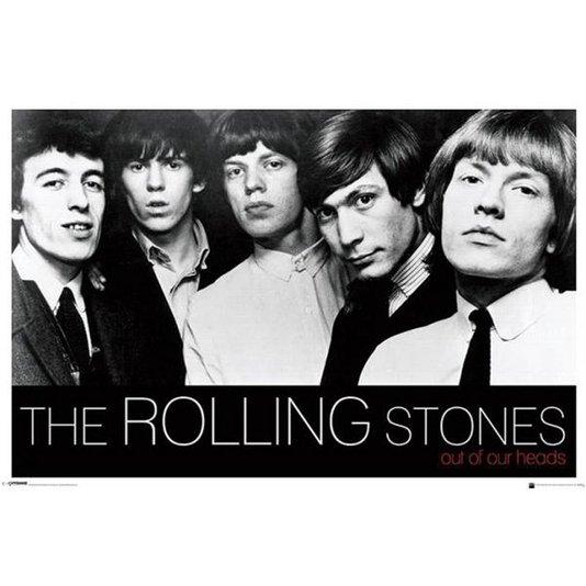 Gravura Poster para Quadros The Rolling Stones em Preto e Branco 90x60cm
